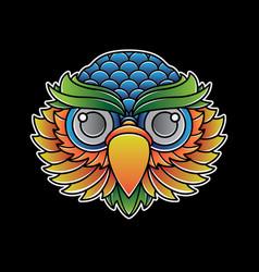 Owl head tattoo flash vector