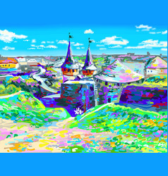 Painting of old medieval castle in kamenetz vector