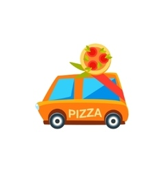 Pizza Delivery Toy Cute Car Icon vector image
