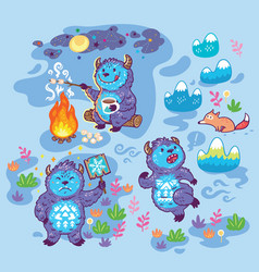 Print with busy yetis in cartoon style vector