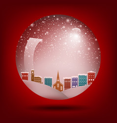 red christmas snow globe with a town inside vector image