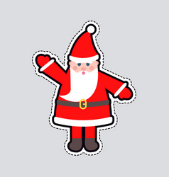 Santa claus in red clothes with raised hand toy vector