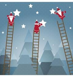 Santa Hanging Stars and Christmas Woods vector