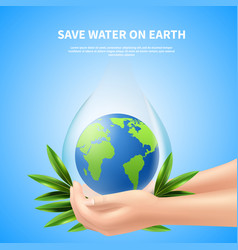 save water on earth advertising poster vector image