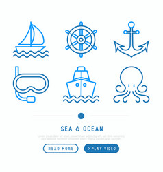 Sea and ocean journey thin line icons set vector