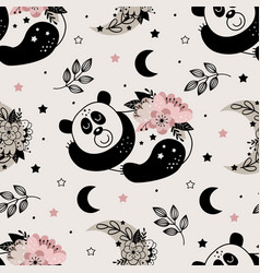 seamless pattern with cute floral panda vector image