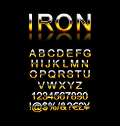set modern iron alphabet letters vector image