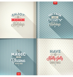Set of Christmas type design with long shadow vector image