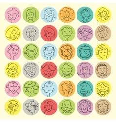 Set of hand drawn cartoon avatars people vector