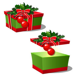 Set of ornate gift boxes with red lid tied with vector