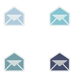 Set of paper stickers on white background envelope vector