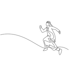 Single continuous line drawing young arabic vector