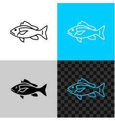 snapper fish line icon common snapper outline vector image