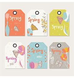 Spring floral gift tag design with flowers vector image