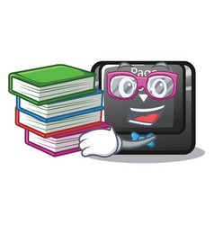 Student with book button page down installed on vector