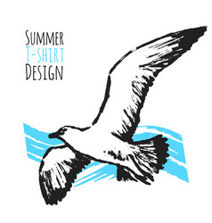 summer t-shirt design with flying seagull vector image