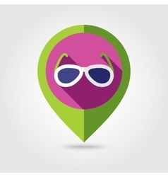 Sunglasses flat mapping pin icon with long shadow vector image