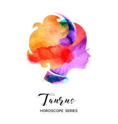 Taurus zodiac sign beautiful girl silhouette vector