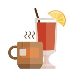 Tea cup with lemon slice cartoon vector