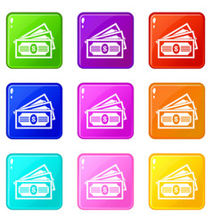 Three dollar bills set 9 vector