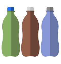 three plastic bottles of different colors for vector image