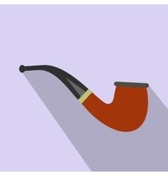 Tobacco pipe flat icon vector image vector image
