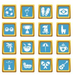 travel brazil icons set sapphirine square vector image