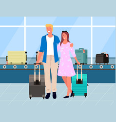 travelers in airport track with luggage vector image