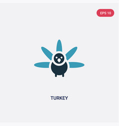 Two color turkey icon from thanksgiving concept vector