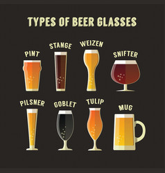 Types of beer glasses vector