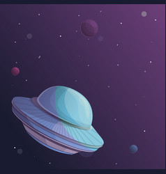 Ufo ship in space concept background cartoon vector