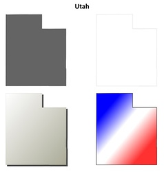 Utah outline map set vector image