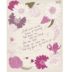 Vintage postcard with flowers and lettering vector