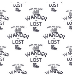 wanderlust adventure seamless pattern with trees vector image