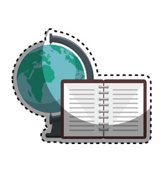 world planet with notebook school supply vector image