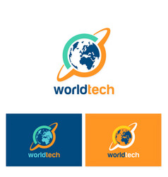 World technology logo vector