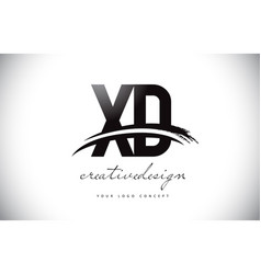 Xd x d letter logo design with swoosh and black vector