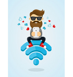 young men guy character sitting on wi-fi vector image