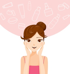 Young woman cleaning and cares her face vector