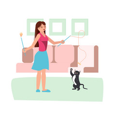 Young woman play with her black cat vector