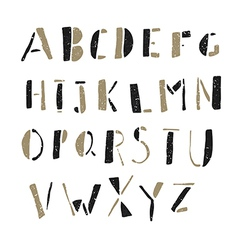 alphabet simple hand drawn aged on white vector image