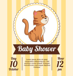 baby shower card invitation date cute tiger vector image