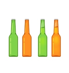 Beer bottles collection isolated on white vector image vector image