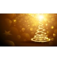 Christmas magic tree gold vector