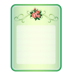 frame with roses background vector image