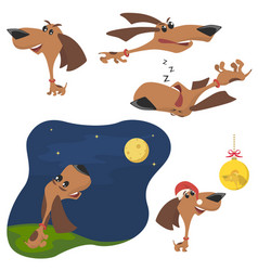 funny cartoon puppy in different poses puppy run vector image