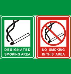 no smoking and smoking area sign set vector image vector image