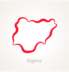 outline map of nigeria marked with red line vector image vector image