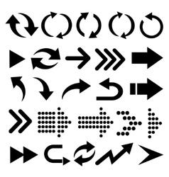 Arrow 3d button icon set black color on vector image