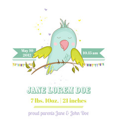 baby shower card cute parrot boy on a brunch vector image vector image